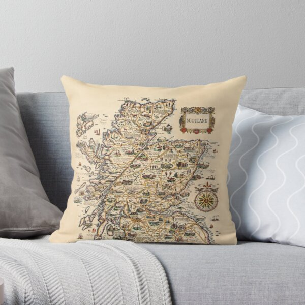 1927 vintage Scotland map design - unique gift idea Throw Pillow