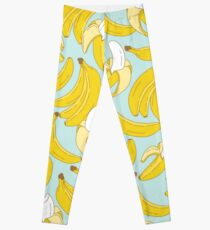 Banana pattern on turquoise background Leggings