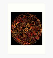 Under The Sea - Red & Black Art Print