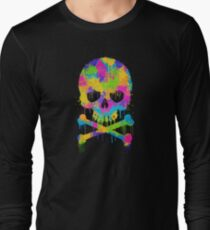 Abstract Trendy Graffiti Watercolor Skull  Long Sleeve T-Shirt