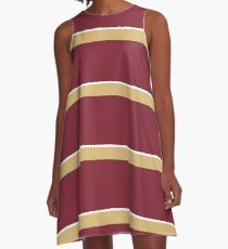 Garnet Gold and White Banded A-Line Dress