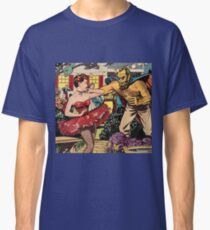 Demon attacking a young woman 50s comic vintage pop art Classic T-Shirt