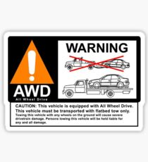 AWD Warning Towing Subaru Sticker