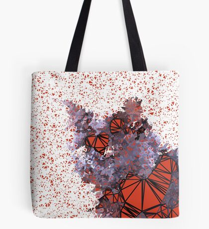 Red Black Cat #Polygonized Tote Bag