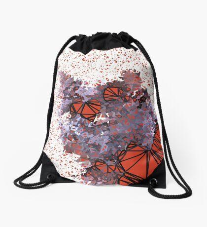 Red Black Cat #Polygonized Drawstring Bag