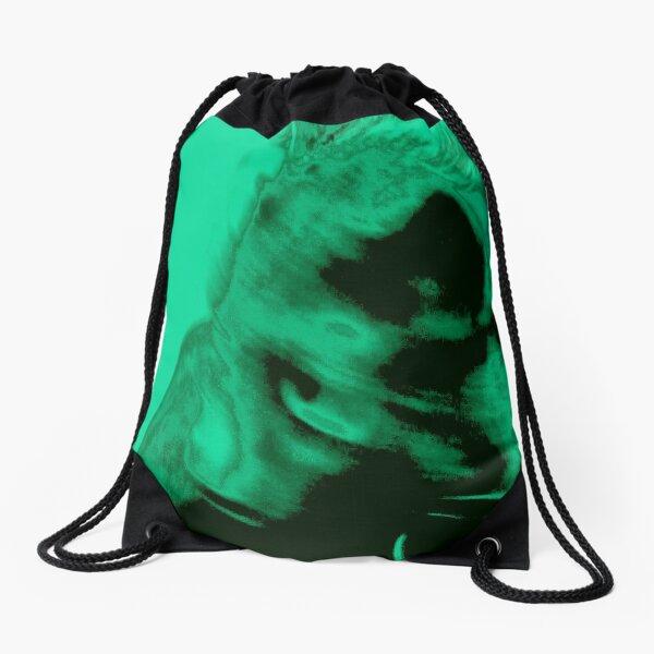 Green design of a cat Drawstring Bag