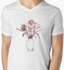 Magenta Floral Mens V-Neck T-Shirt