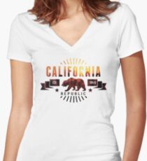 California Palm Trees Women's Fitted V-Neck T-Shirt