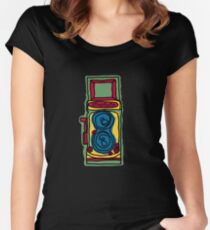 Bold and Colorful Camera Design Women's Fitted Scoop T-Shirt