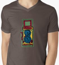 Bold and Colorful Camera Design Mens V-Neck T-Shirt