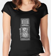 Bold, Black and White Camera Line Drawing Women's Fitted Scoop T-Shirt