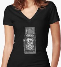 Bold, Black and White Camera Line Drawing Women's Fitted V-Neck T-Shirt