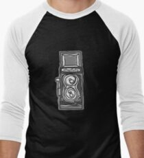 Bold, Black and White Camera Line Drawing Men's Baseball ¾ T-Shirt