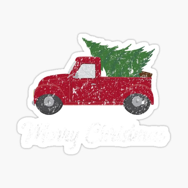 Vintage Wagon Christmas Tree On Car Sticker
