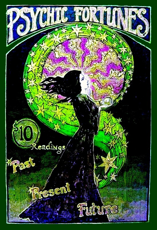 """""""PSYCHIC FORTUNES; Vintage Fortune Telling Print"""" By"""