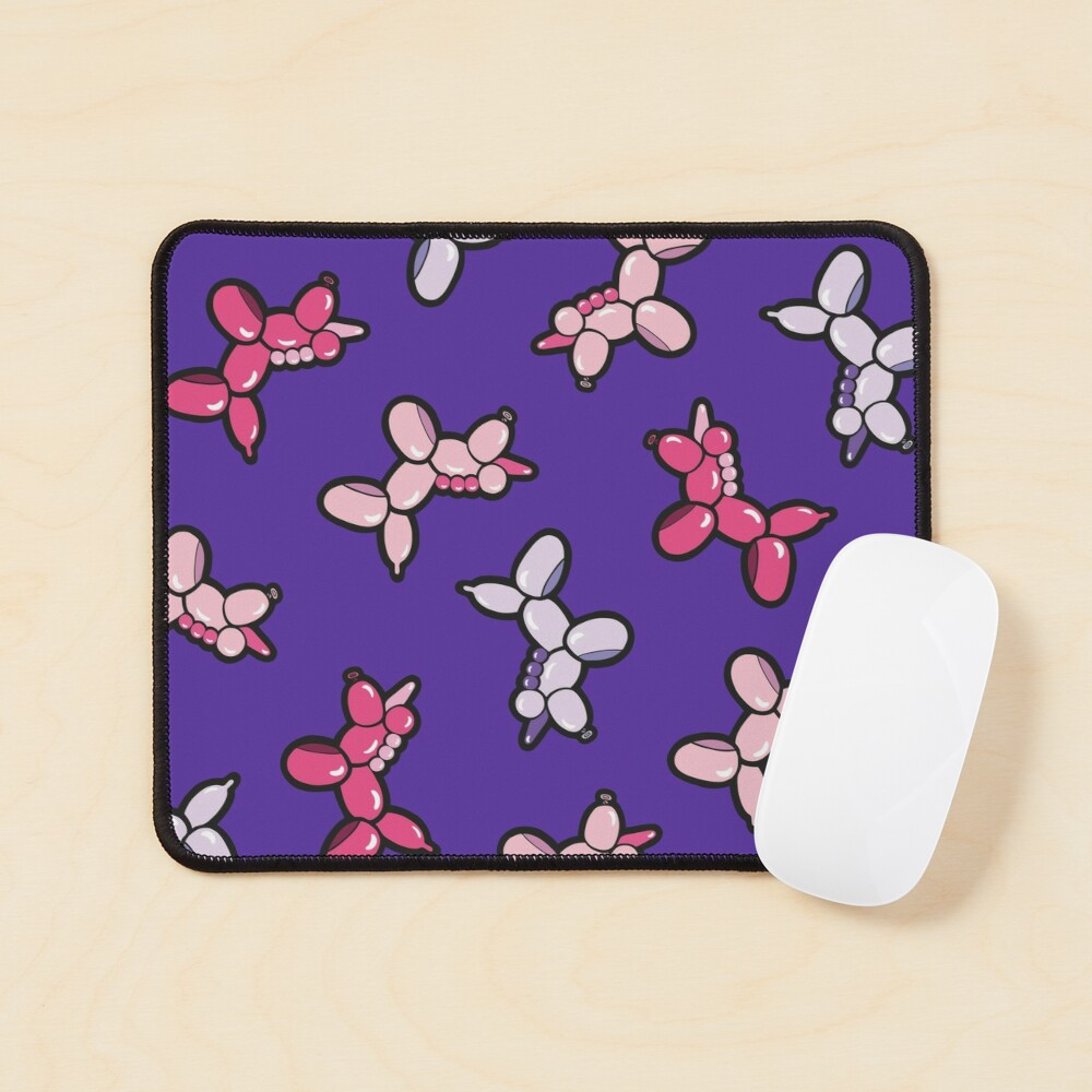Balloon Animal Unicorns Pattern in Purple Mouse Pad