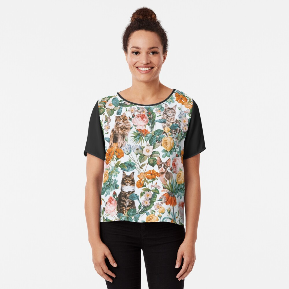 Cat and Floral Pattern III Chiffon Top