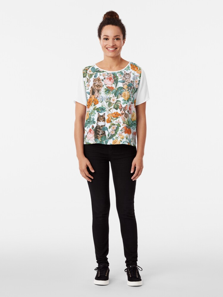 Alternate view of Cat and Floral Pattern III Chiffon Top