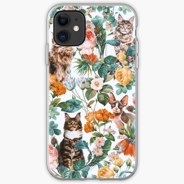 Cat and Floral Pattern III iPhone Soft Case