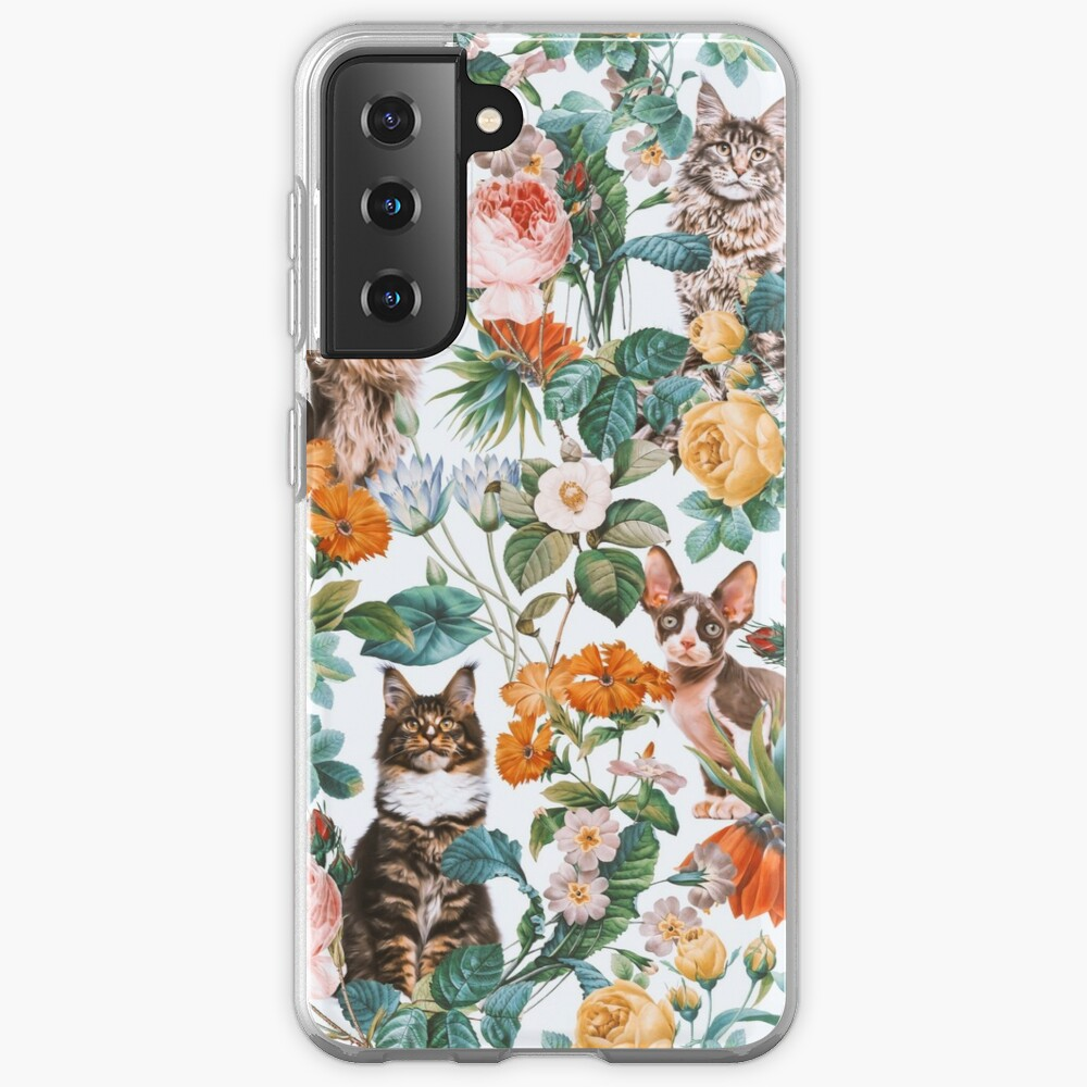 Cat and Floral Pattern III Case & Skin for Samsung Galaxy