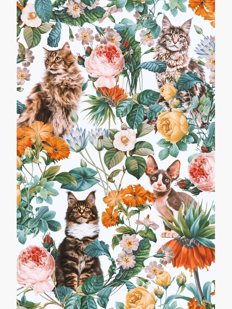 Cat and Floral Pattern III by burcukyurek