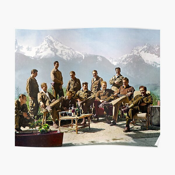 Dick Winters and his Easy Company lounging at Eagle's Nest, Hitler's former residence in the Bavarian Alps, 1945.  Poster