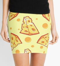 Pattern with a slice of cheese on a light yellow background Mini Skirt
