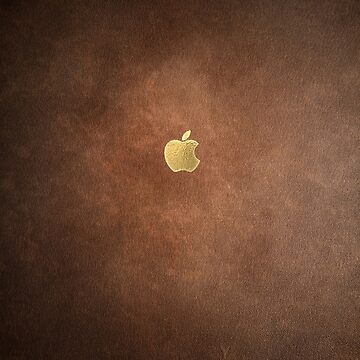 Gold Leaf Apple Logo on Brown LeatherLeather by goodedesign