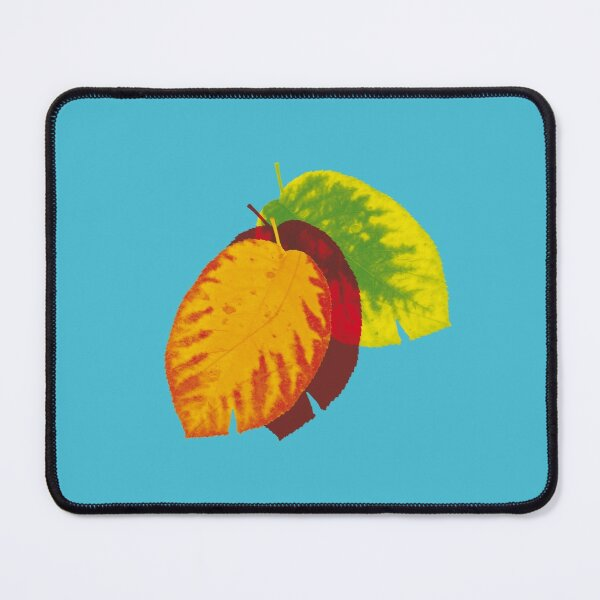 Falling leaves on blue Mouse Pad