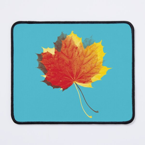 Autumn leaves red yellow on blue Mouse Pad