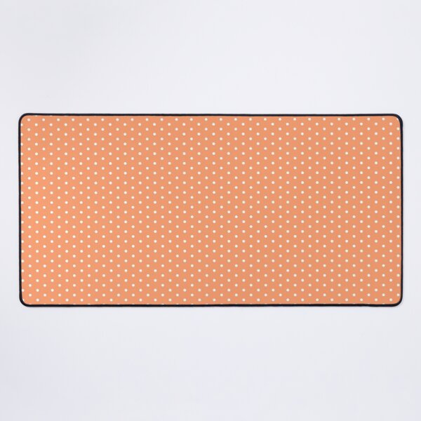 Coral Background With White Polka Dots Desk Mat