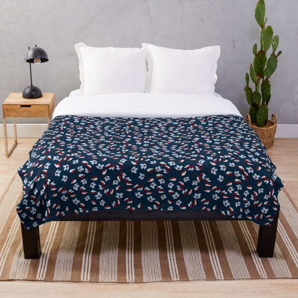 Spring floral sweet elegant Navy blue white and red flowers Throw Blanket