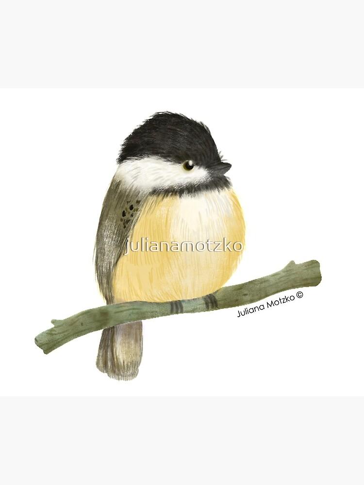 Black capped chickadee bird by julianamotzko
