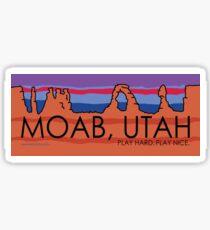 Pegatina Moab, Utah! Juega duro, juega bien.