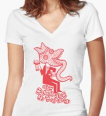 He has his eye on you. Women's Fitted V-Neck T-Shirt