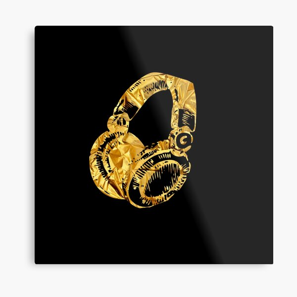 Gold Headphones Metal Print