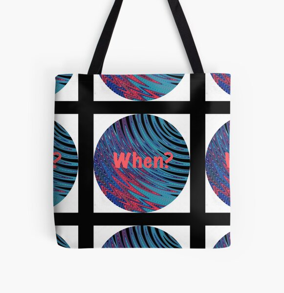 When? Swirling Globe Pattern All Over Print Tote Bag