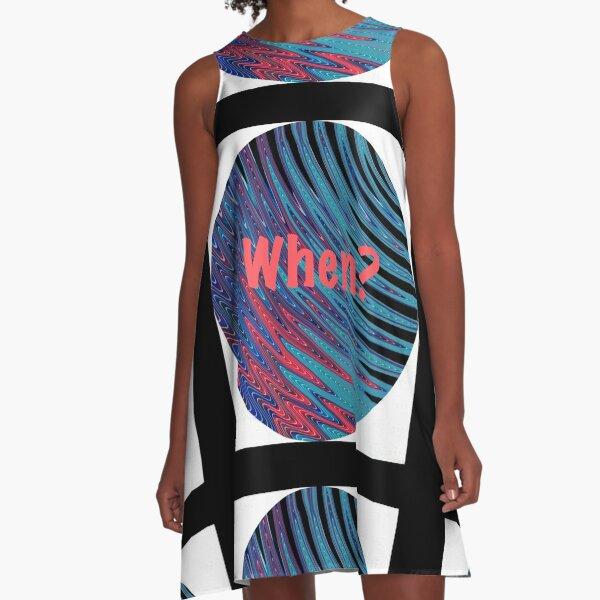 When? Swirling Globe Pattern A-Line Dress