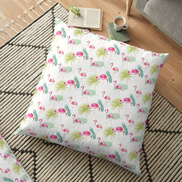 Summer flamingo and palm tropic branches seamless Floor Pillow