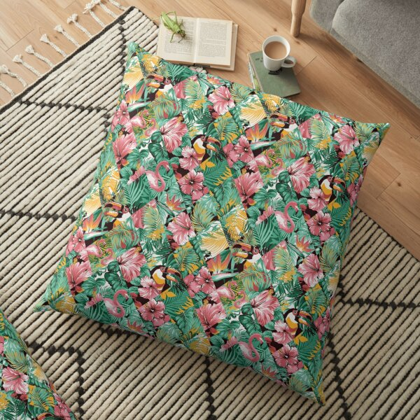 Tropical leaves hibiscus and birds patchwork Floor Pillow