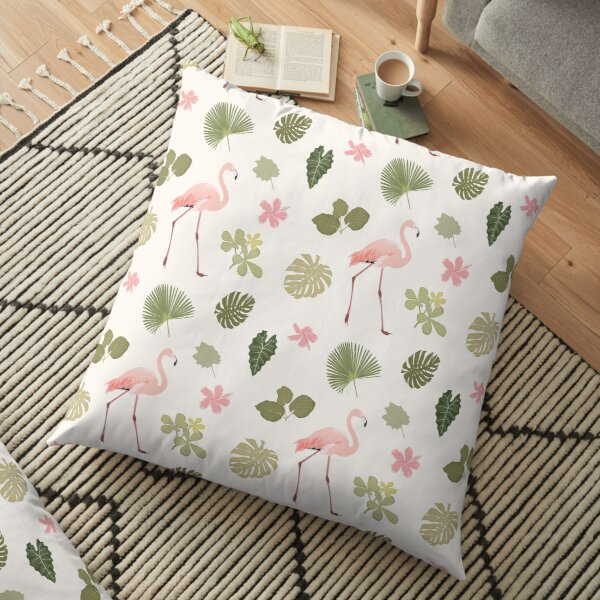 Tropical pattern flamingo Floor Pillow