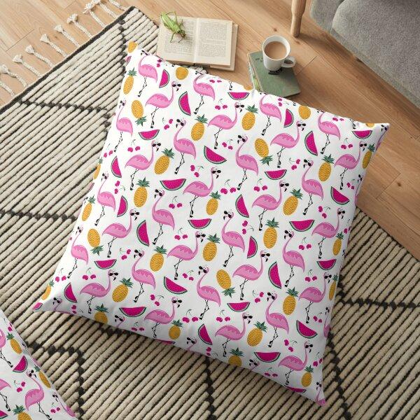 Tropical trendy seamless pattern pink flamingos Floor Pillow