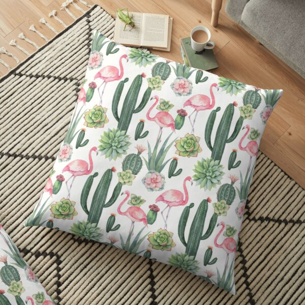 Watercolor seamless pattern of pink Floor Pillow