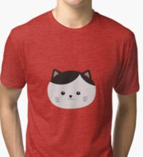 Cat with white fur and black hair Tri-blend T-Shirt