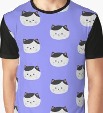 Cat with white fur and black hair Graphic T-Shirt