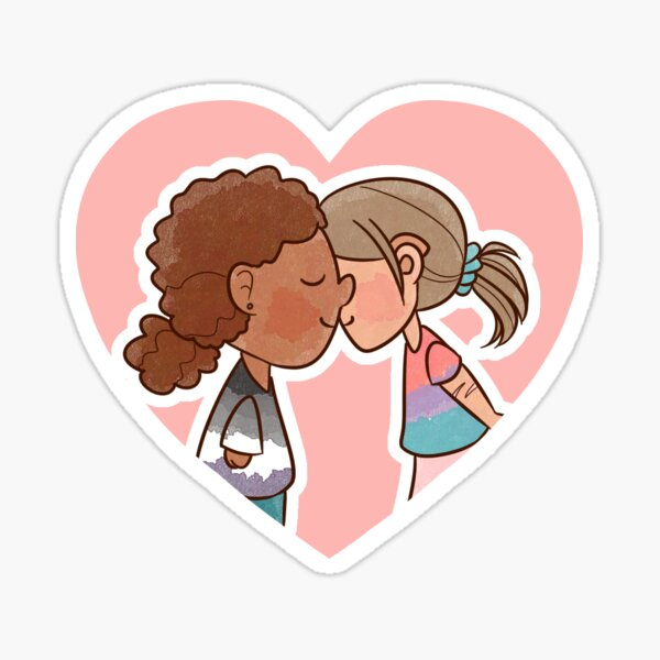 heart-shaped sticker showing two disabled girls kissing