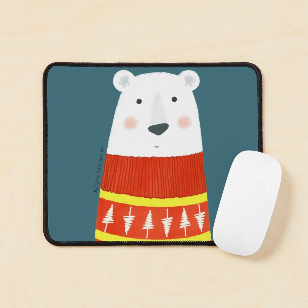 Polar Bear with Sweater Mouse Pad