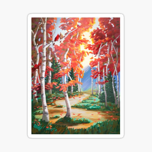 Autumn Trees with Cardinals Sticker