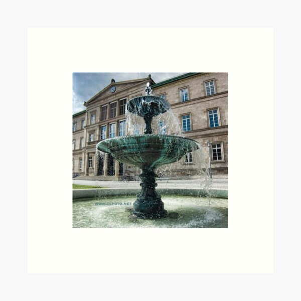 Neue Aula Fountain, Tübingen, Germany Art Print