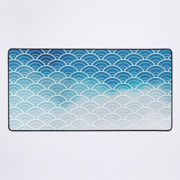 Classic Blue Ombre Japanese Waves Pattern (Pantone Classic Blue) Desk Mat